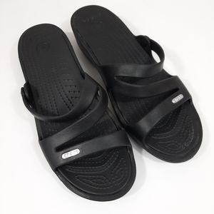 Crocs Patricia Wedge Slide Sandal Black/Black